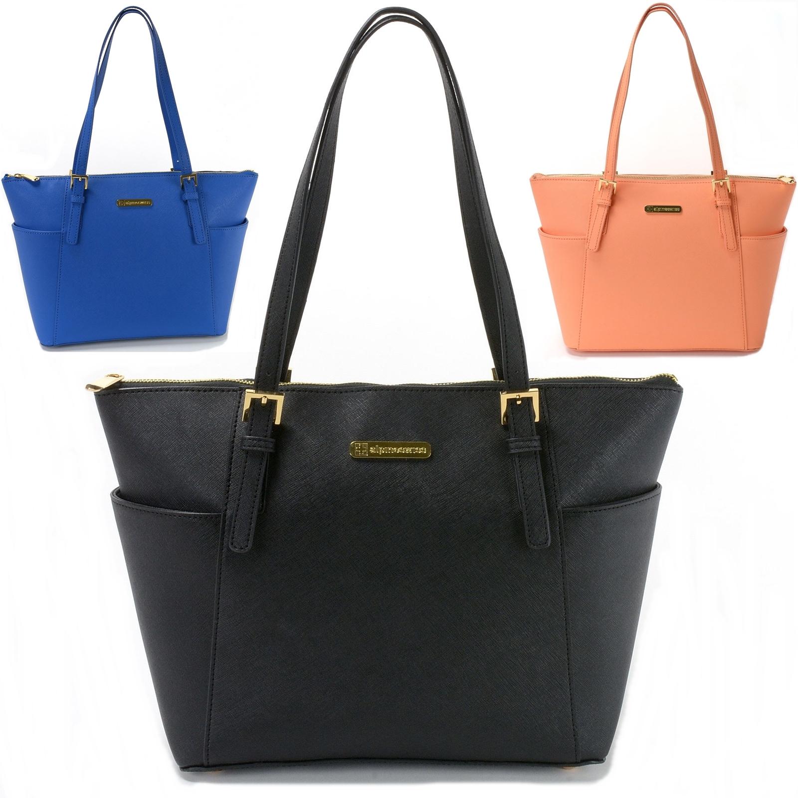 Alpine Swiss Women's Ebro Saffiano Tote Bag Travel Handbag Purse ...