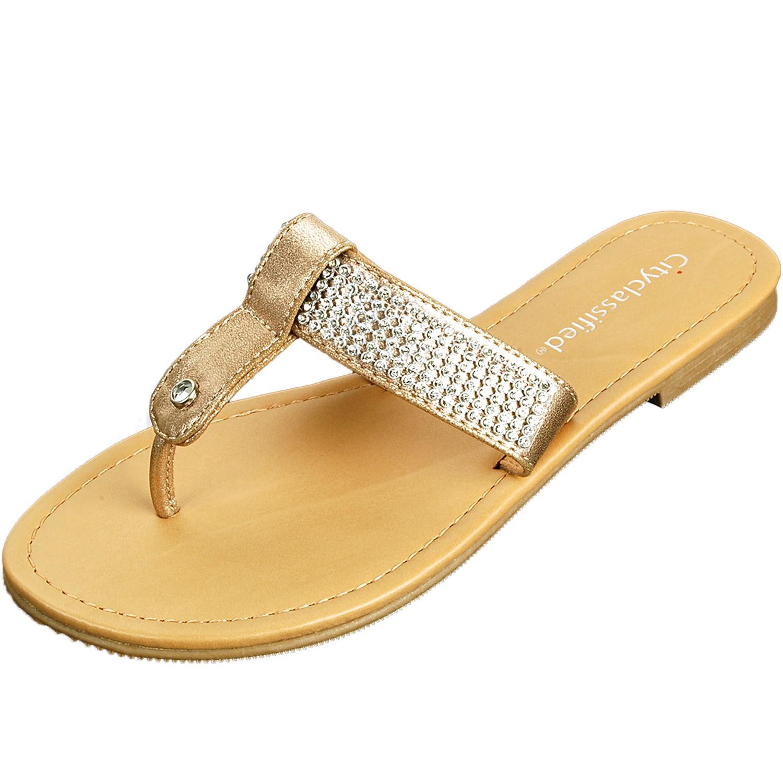 women 39 s rhinestone sandals t strap thongs slip on flats. Black Bedroom Furniture Sets. Home Design Ideas