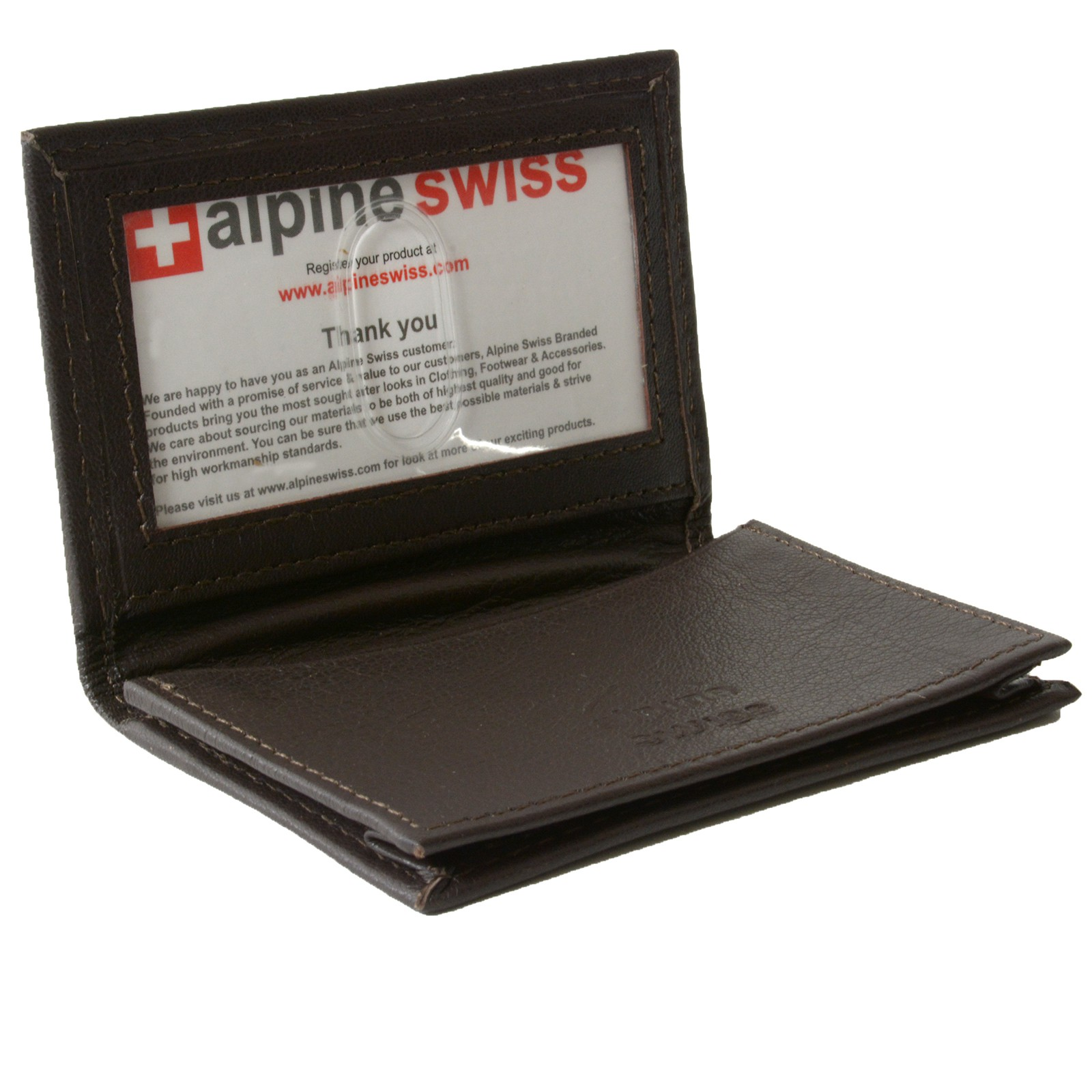 Alpine swiss expandable business card case genuine leather for Leather pocket business card holder