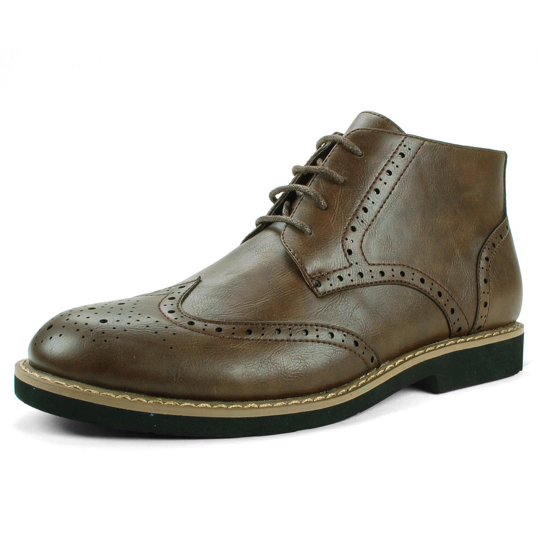 alpineswiss geneva mens ankle boots brogue medallion wing
