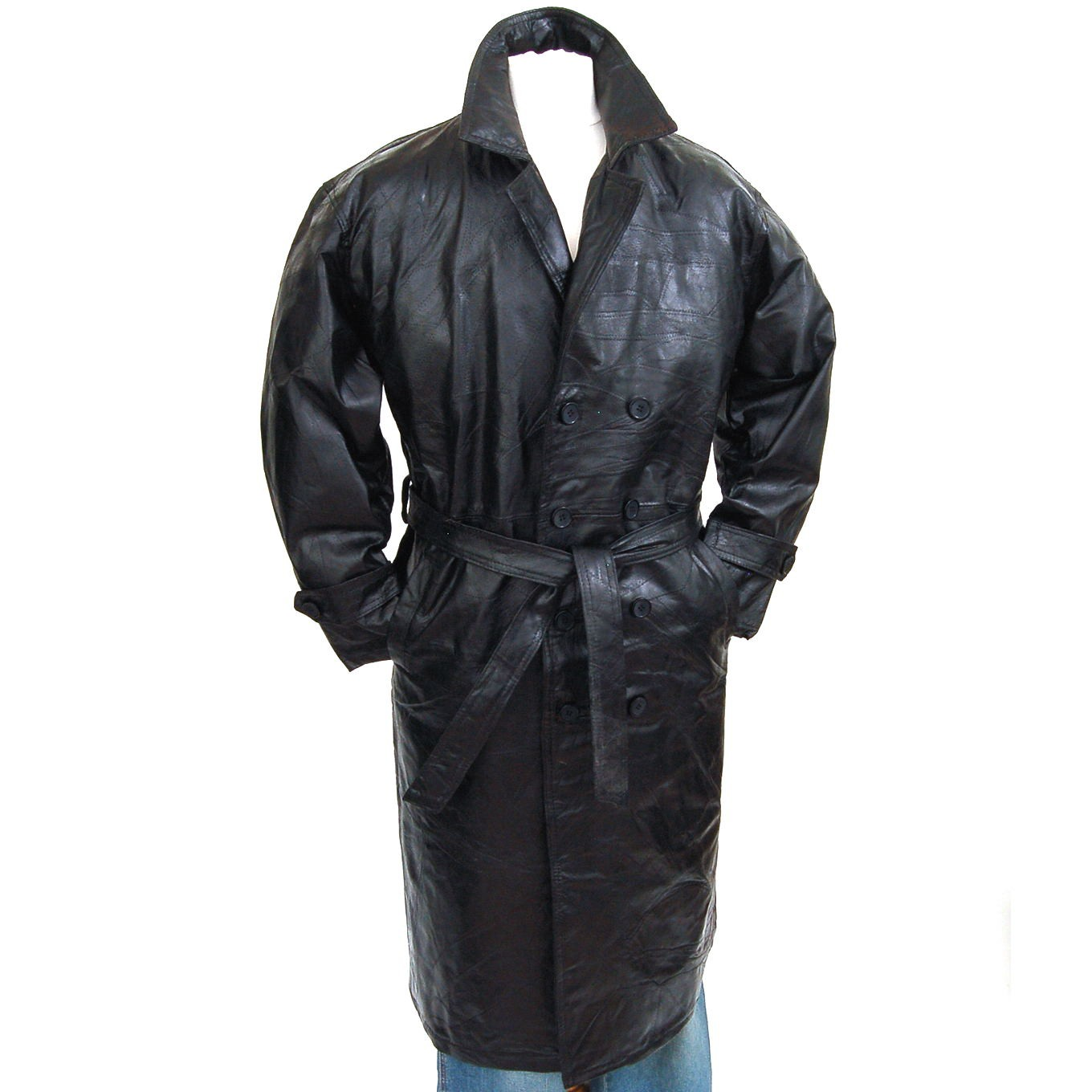 Mens Trench Coat Genuine Leather Double Breasted Long