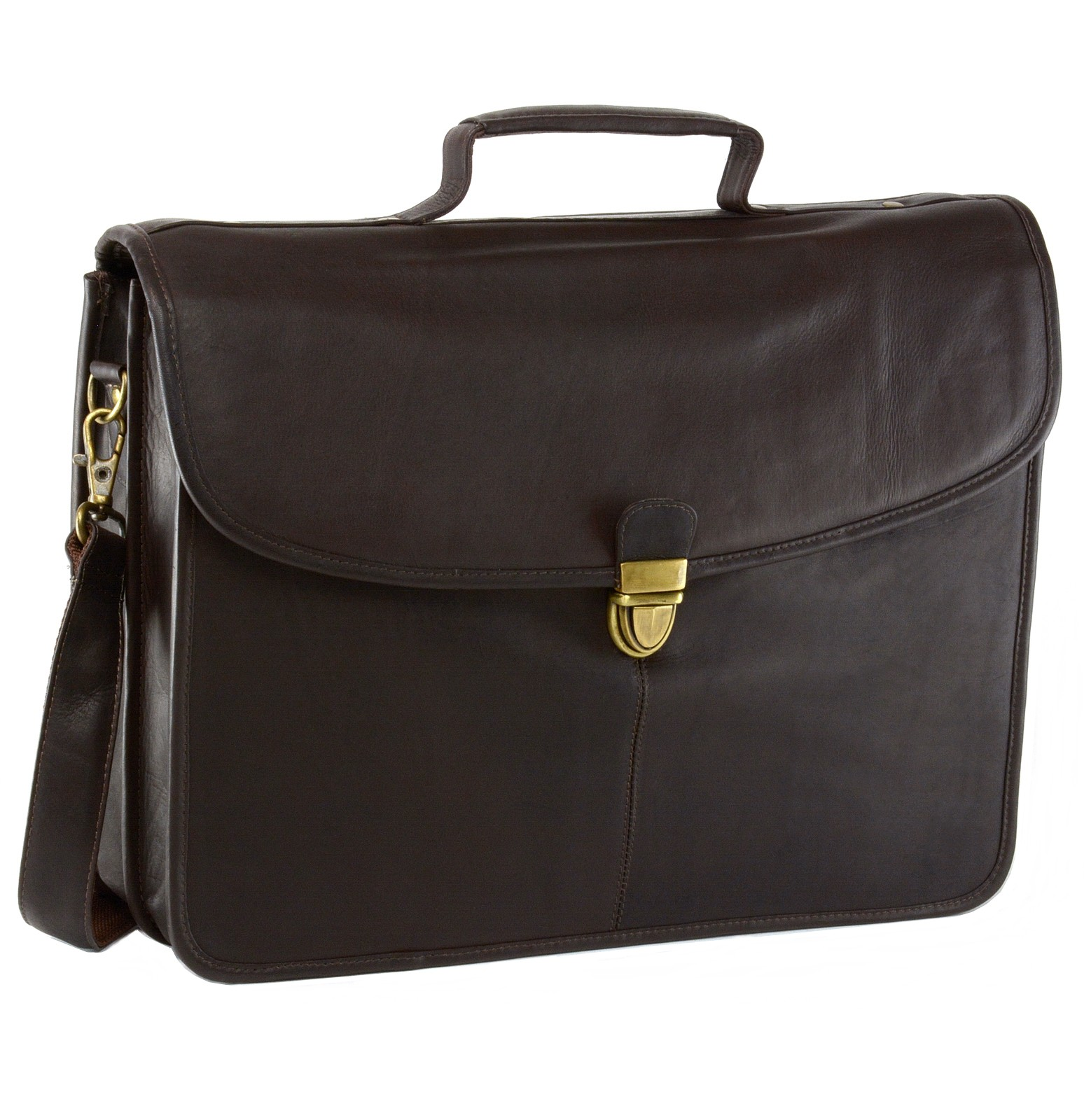 Ha Brn 20 Mens Leather Laptop Briefcase Flapover