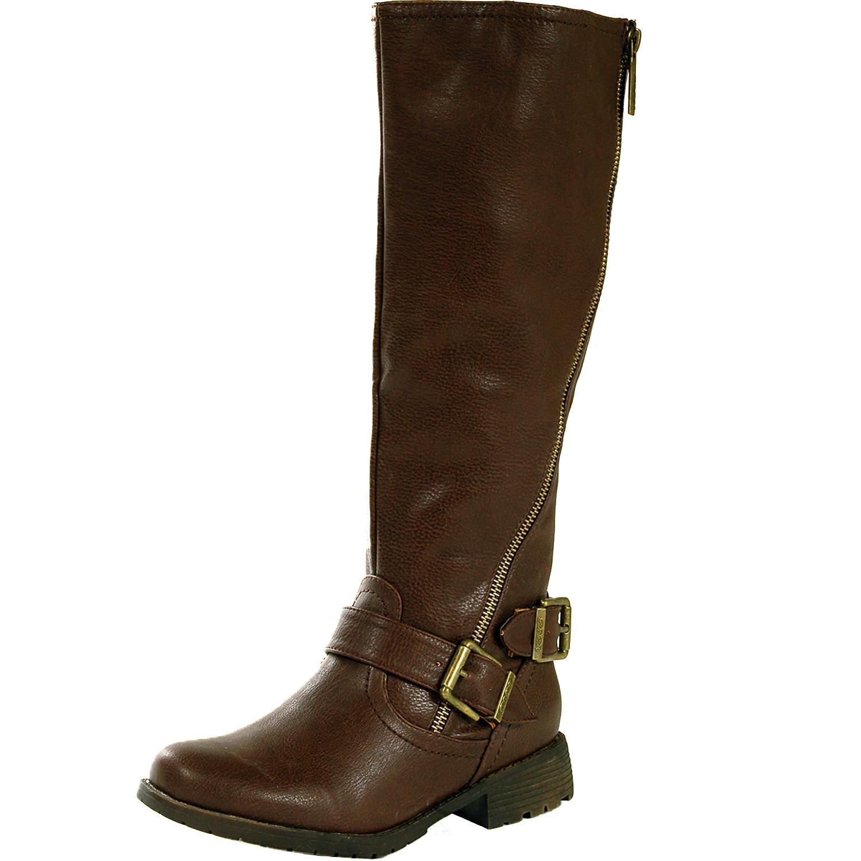 womens boots flat heel brass zipper faux leather