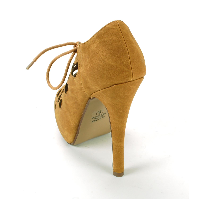 Womens Stiletto Heel Platform Pumps Lace Up Sexy Cutout Open Peep Toe Shoes New