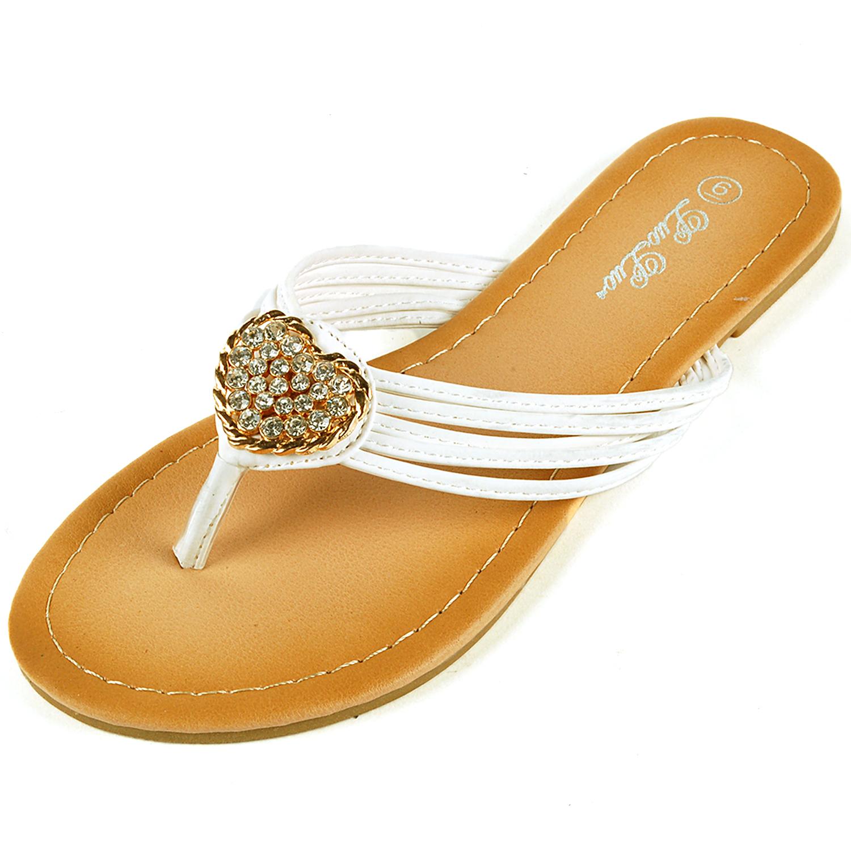womens dressy flip flops gold rhinestone strap sandals. Black Bedroom Furniture Sets. Home Design Ideas