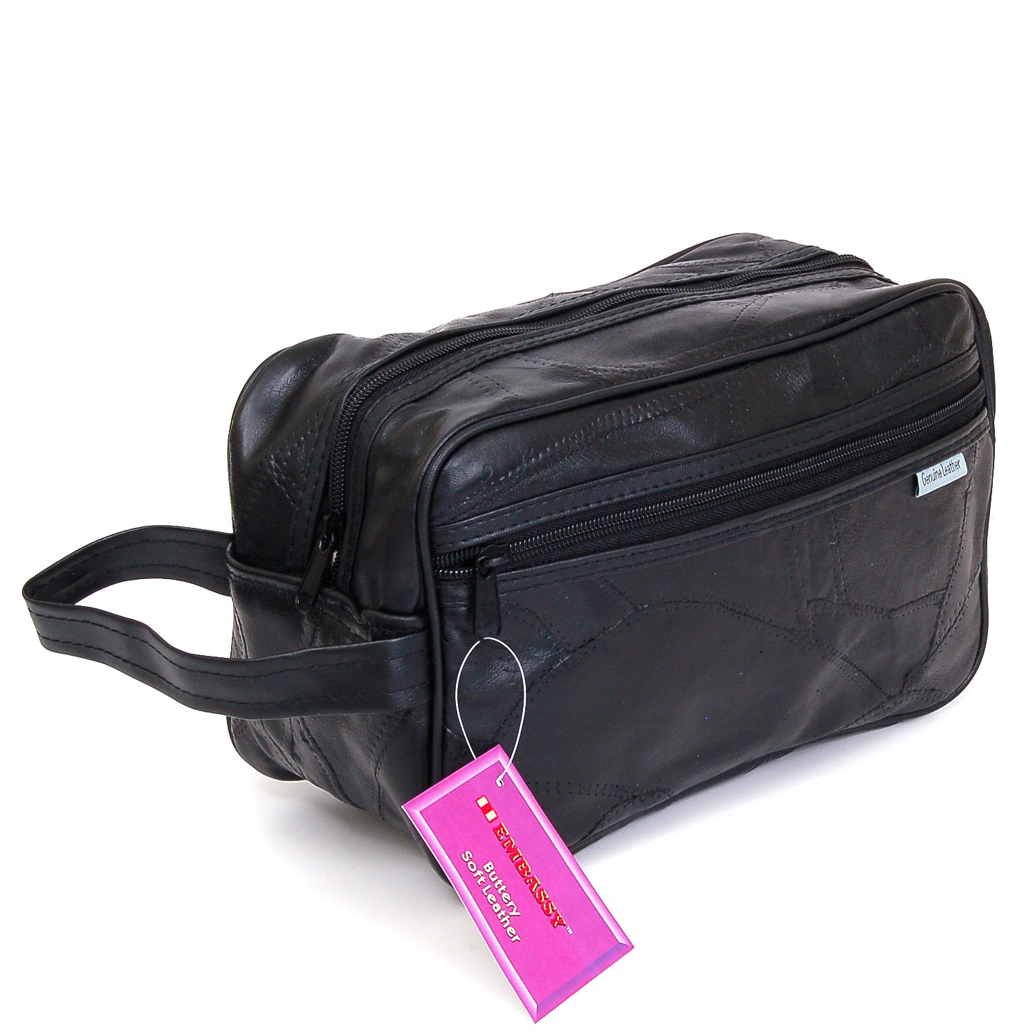 new leather toiletry bag shaving kit travel case tote make. Black Bedroom Furniture Sets. Home Design Ideas