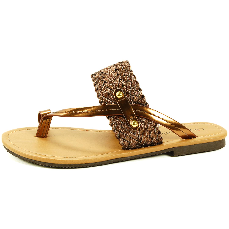 Womens sandals nz - Womens Slip On Sandals Strappy Metallic Flip Flops