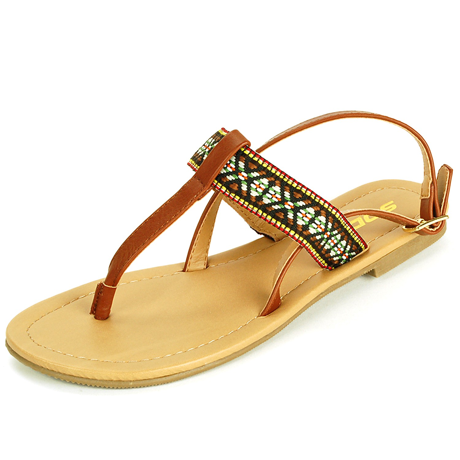 Women's T-Strap Sandals Slingback Thongs Embroidered Strap ...