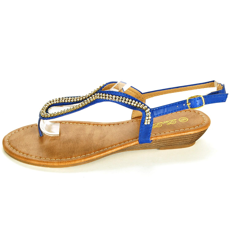 dcb01ff4840f33 Womens Rhinestone Sandals Slingback Flats Heeled Flip Flops Sparkle Thong  Shoes