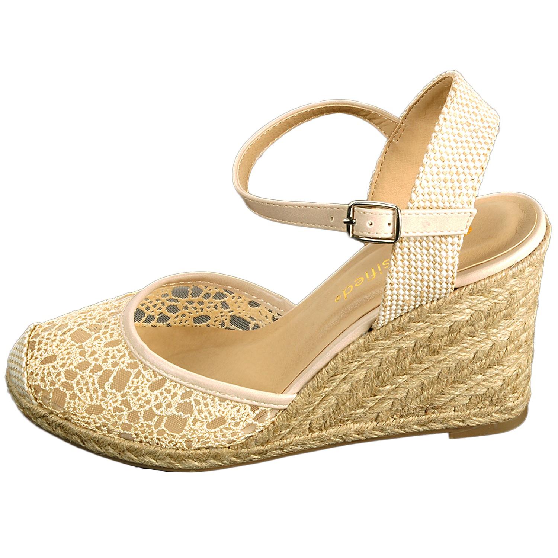 Womens Wedge Heels Platform Shoes Braided Wicker Lace ...