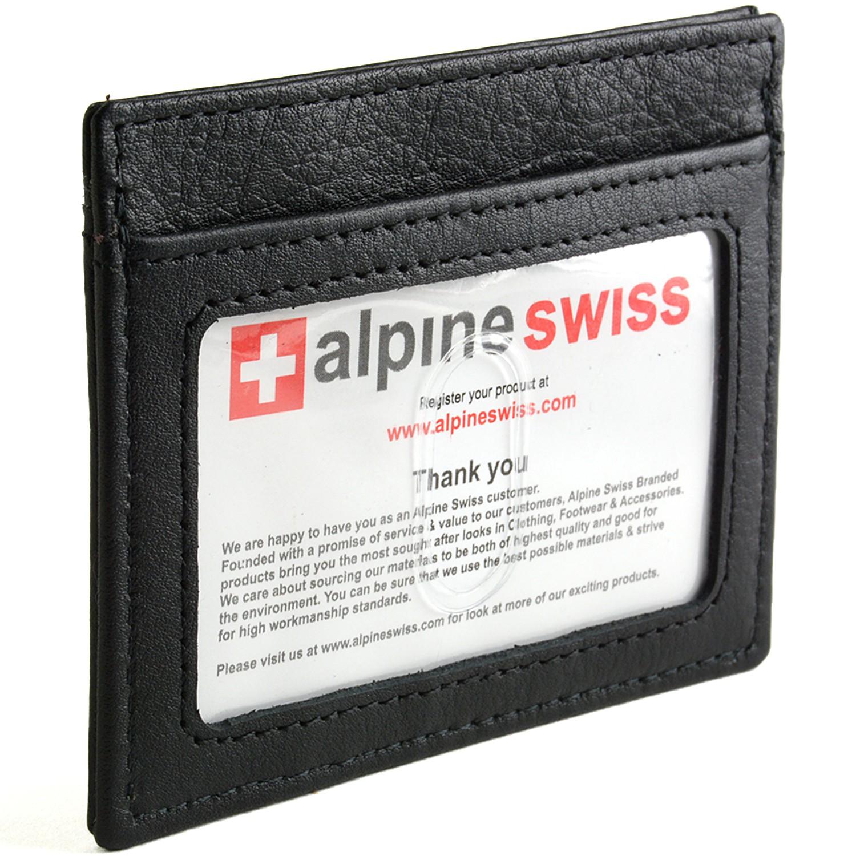 Alpine Swiss Mens Money Clip Spring Loaded Real Leather Slim Front Pocket Wallet