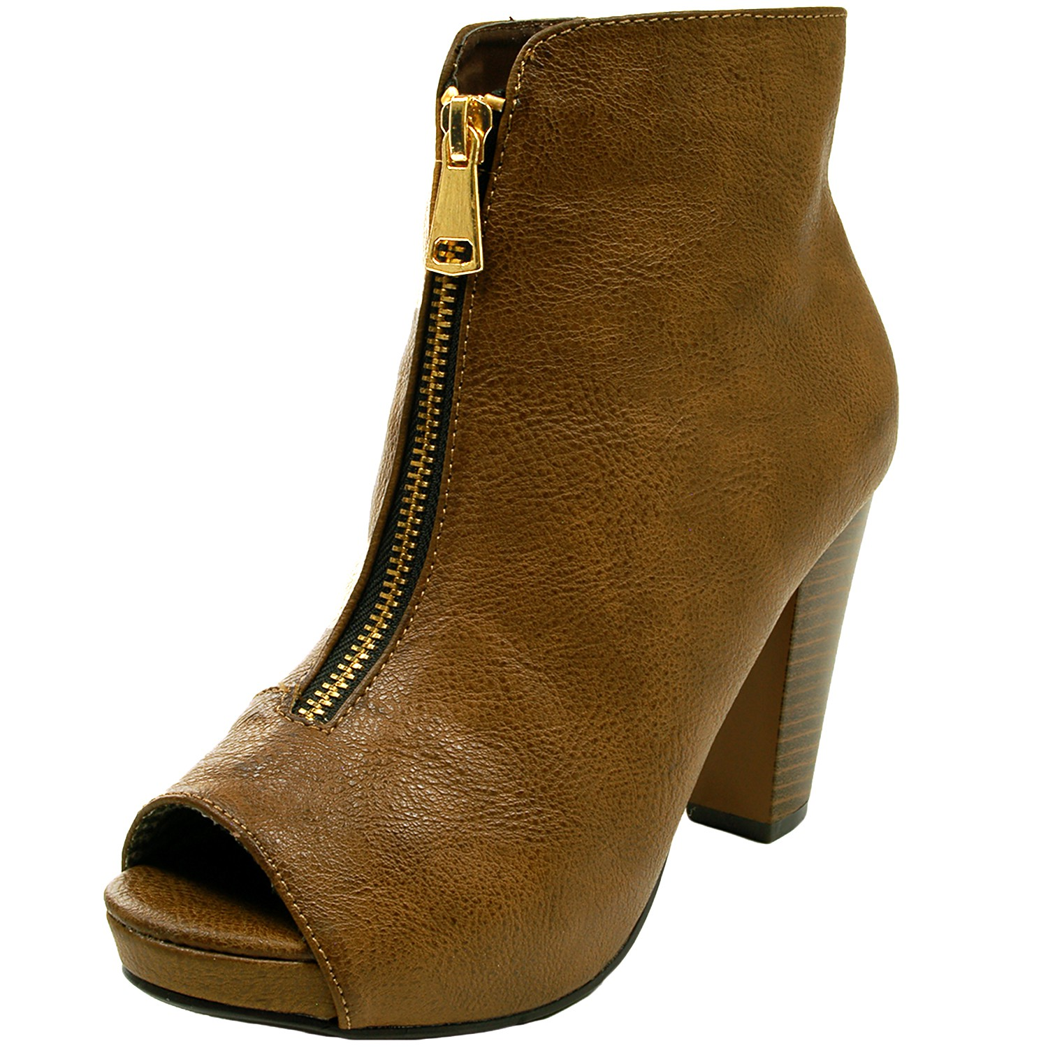 Original Chestnut Faux Leather Chunky Knee High Combat Boots @ Cicihot Heel Shoes Online Store Sales ...