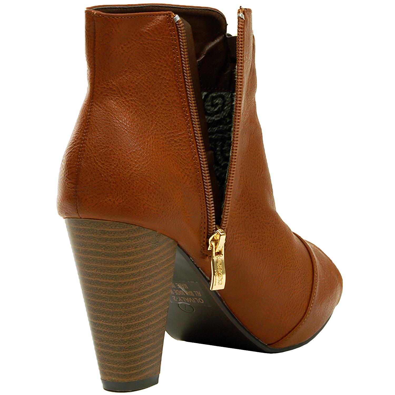 Gold Bootie Boots American Go Association Timberland 14865xsbn 12 Coklat Rosegold Womens Ankle Chunky Block Heel Zipper Leatherette Fashion Shoe Ebay