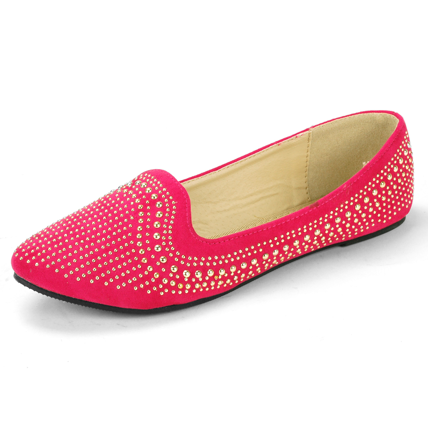 Luo Luo Womens Velvet Loafers Gold Metal Studded Accent Ballet Flats Trendy Slip On Shoe at Sears.com