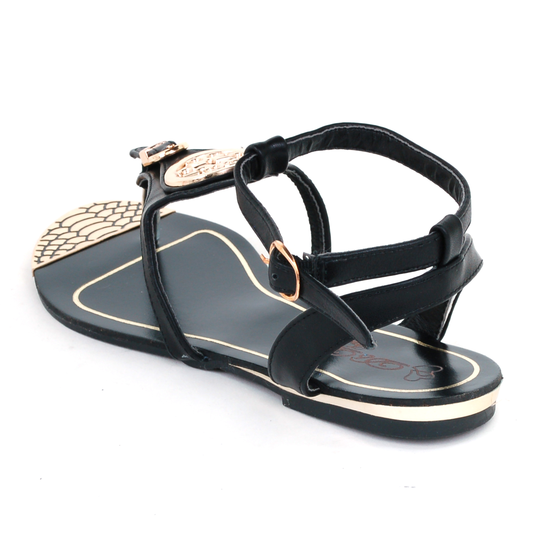 "Elegant Thong Sandals Ankle Strap Buckle Flats Gold Trim Shoes 1/2"" Wedge Heel"