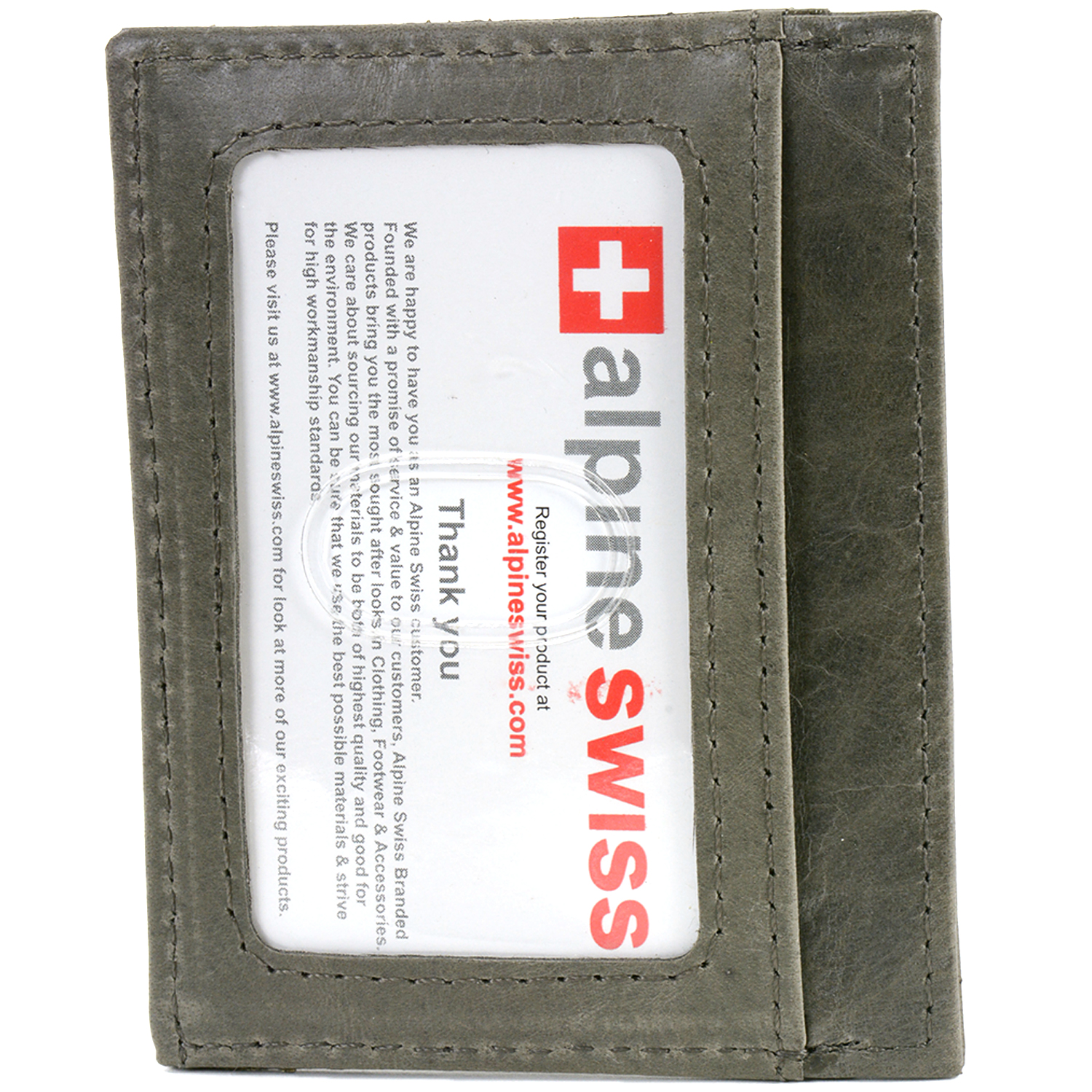 Alpine Swiss Mens Money Clip Spring Loaded Real Leather Slim Front Pocket Wallet