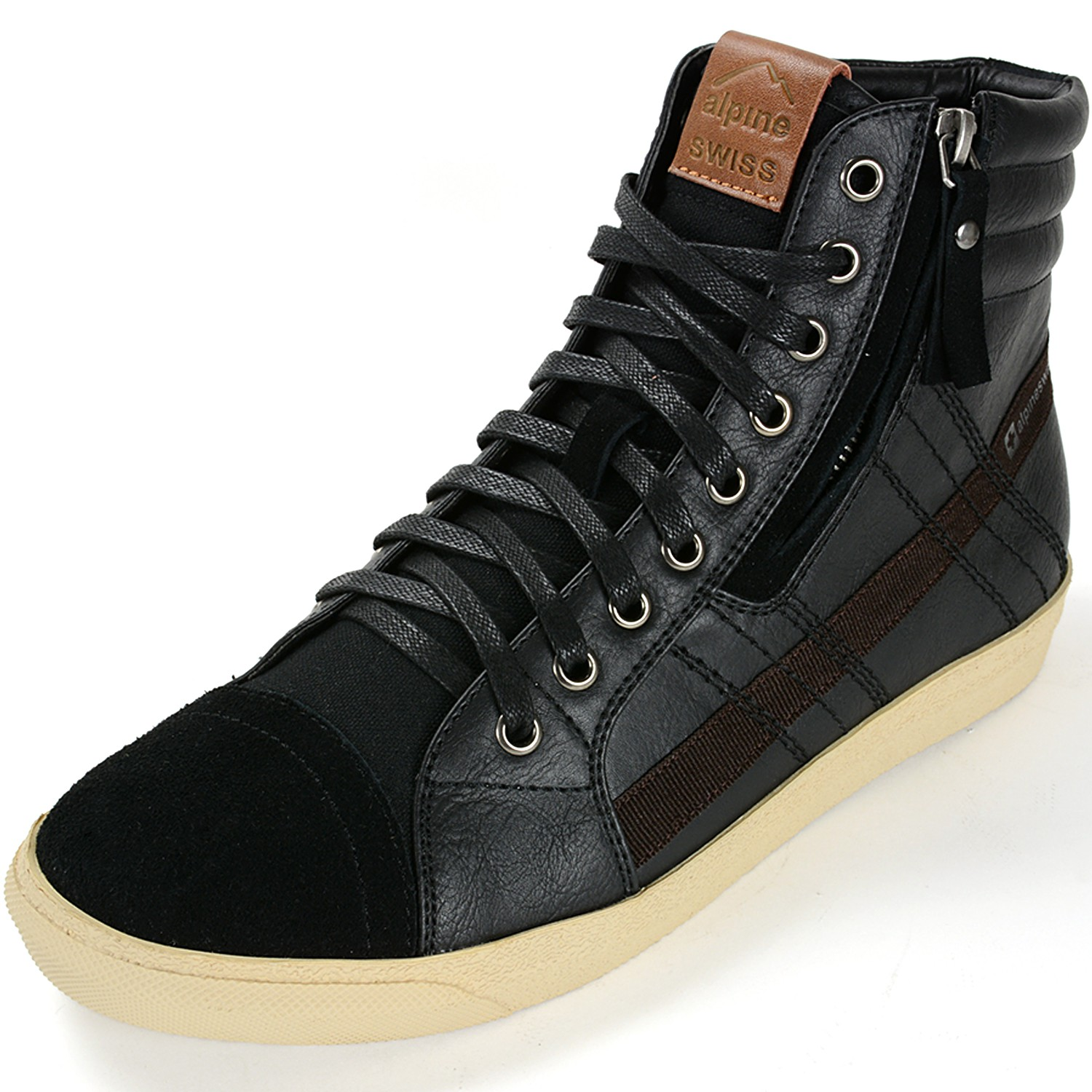 Alpine Swiss Reto Mens High Top Sneakers Lace Up & Zip Ankle ...