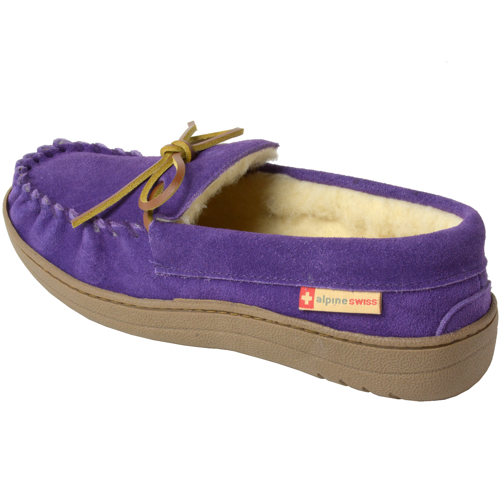 Alpine Swiss Sabine Womens Suede Shearling Moccasin Slippers House Shoes Slip On