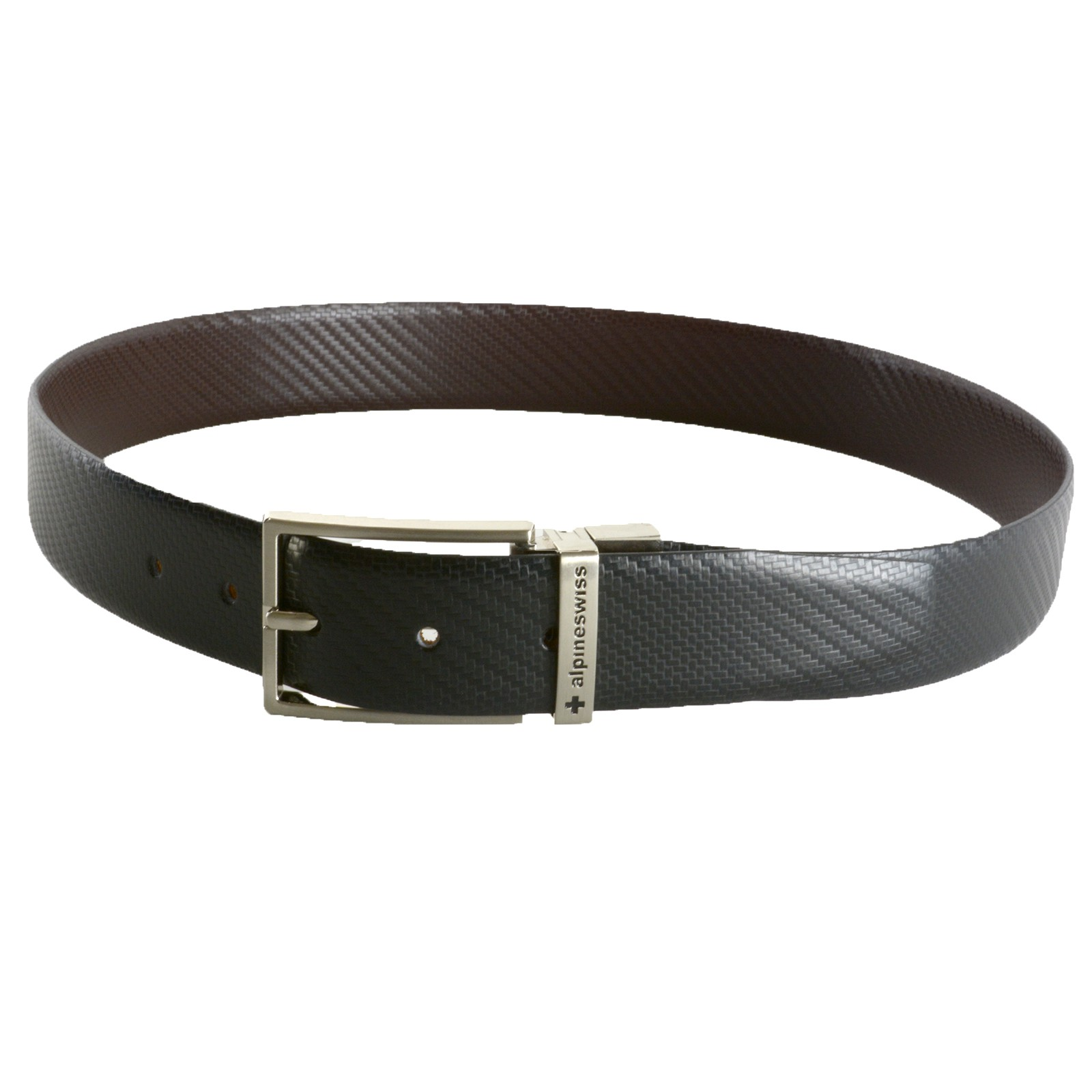 Alpine-Swiss-Men-039-s-Dress-Belt-Reversible-Black-Brown-Leather-Imported-from-Spain
