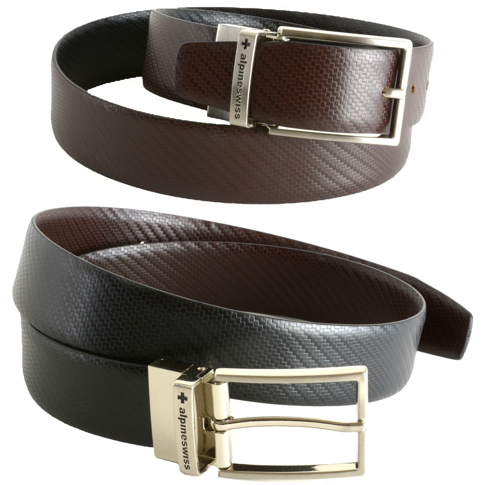 Alpine Swiss Mens Brown/Black Reversible Leather Dress Belt (Pattern/Solid)