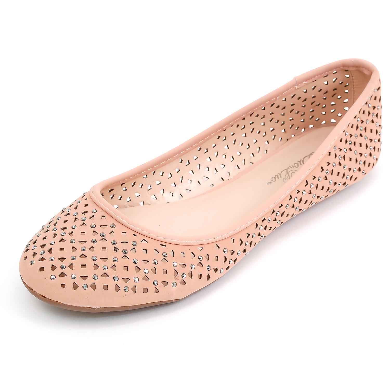 Womens Ballet Flats Perforated Rhinestone Embellished ...