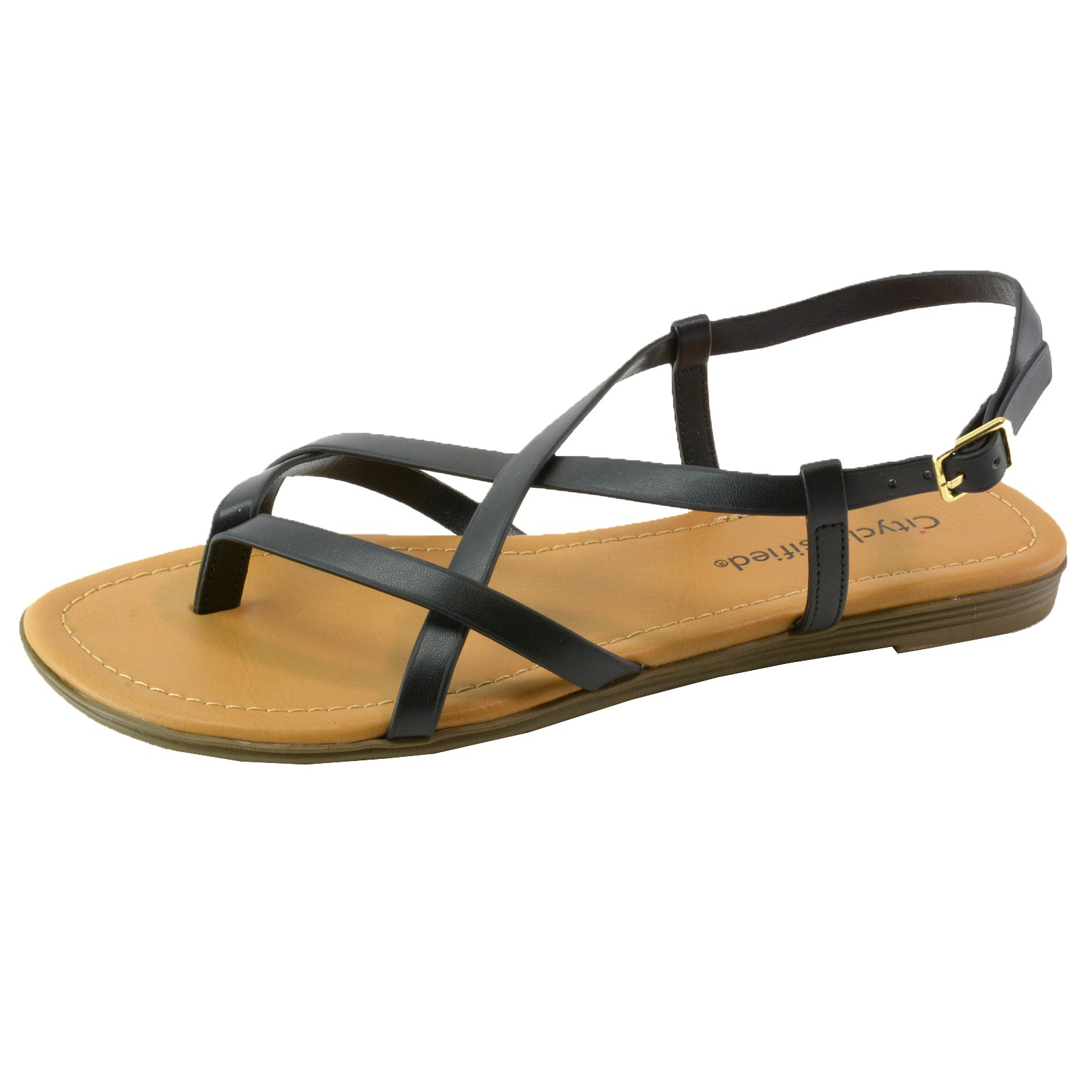 city classified women s flat shoes strappy thong slingback. Black Bedroom Furniture Sets. Home Design Ideas