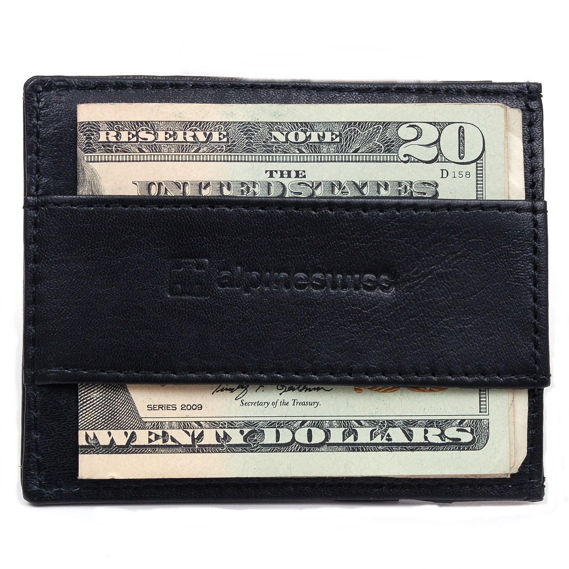 Alpine Swiss Mens Minimalist Front Pocket Wallet Card Case Cash Strap Money Clip