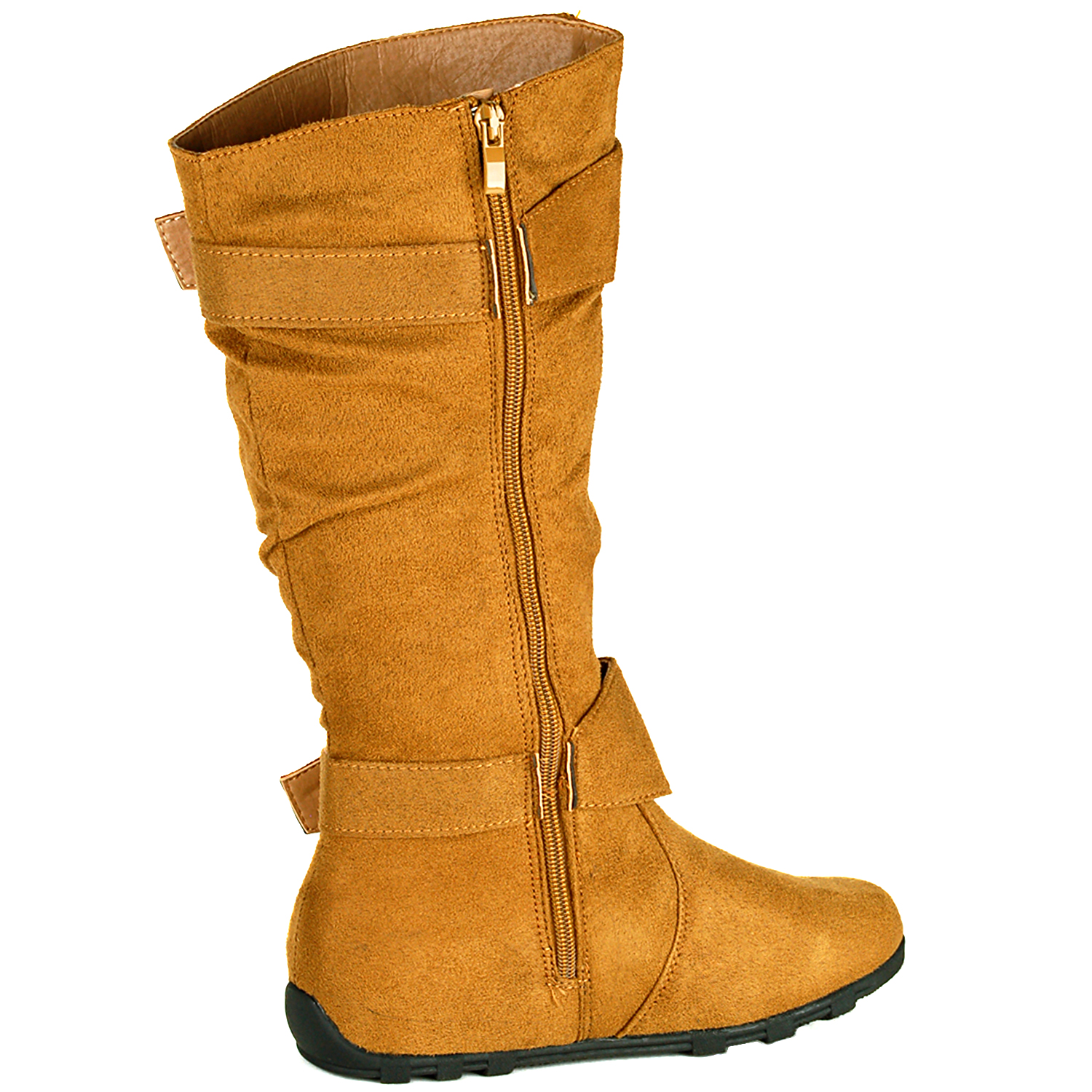 womens slouch boot faux suede zippered flats mid calf