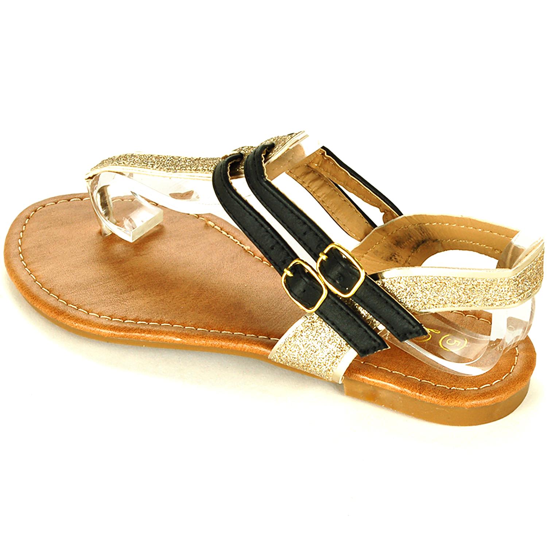 Womens T-Strap Sandals Gladiator Flats Sparkly Glitter Flip Flops Roman Thongs
