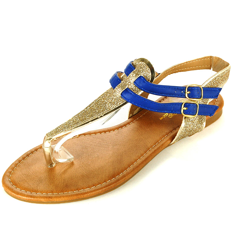 womens t strap sandals gladiator flats sparkly glitter. Black Bedroom Furniture Sets. Home Design Ideas