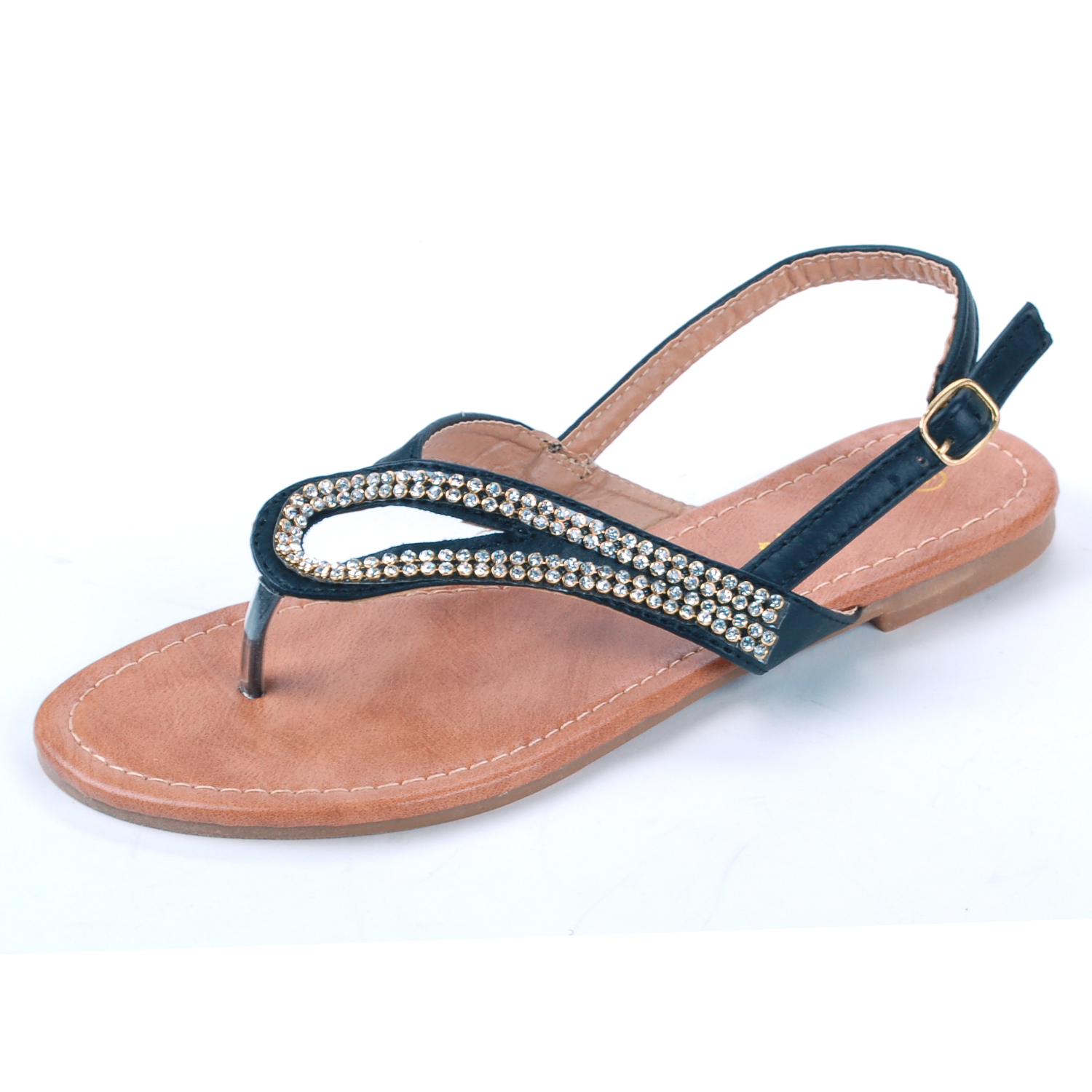 Luo Luo Dressy Rhinestone Flats Women's Sandals Thong Ankle Buckle Askew Slant Strap New