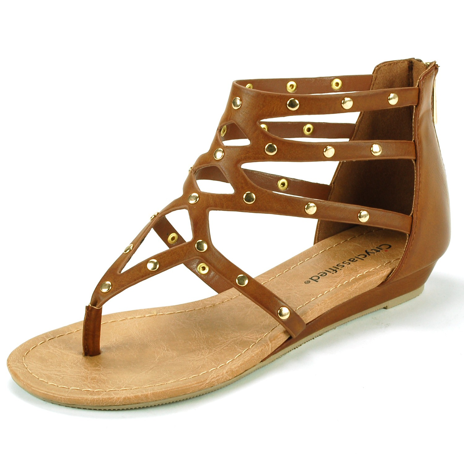 City Classified Womens Gladiator Sandals Strappy Thong Studded Ankle Roman Shoes Slip On Zipper at Sears.com