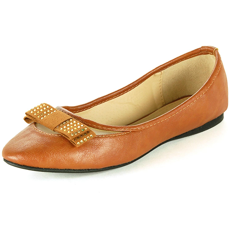 Womens Ballet Flats Slip On Loafers Rhinestone Bow Ballerina Slipper Dress Shoes