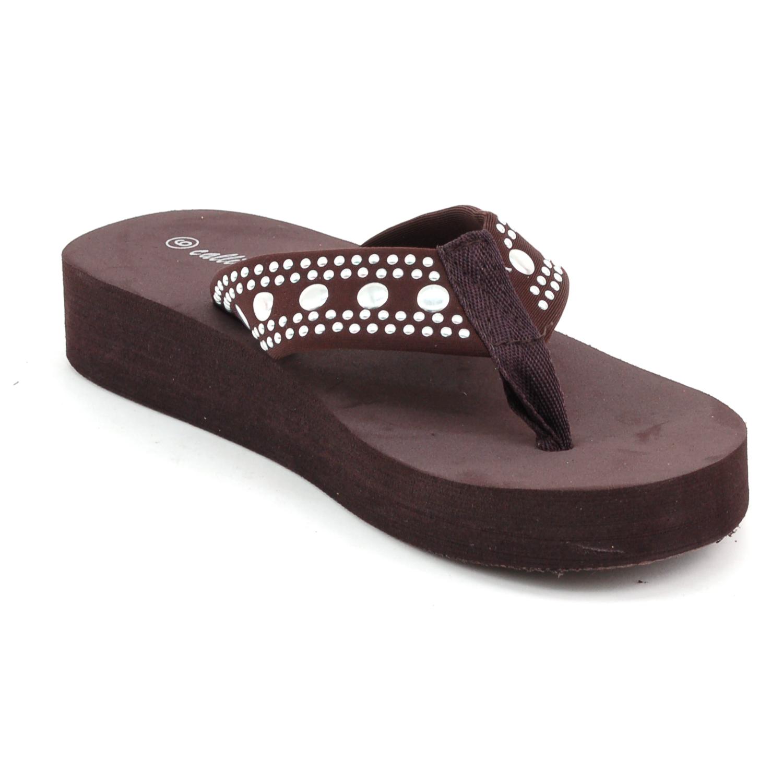 Womens Platform Sandals Flip Flops Wedgge Heel Studded