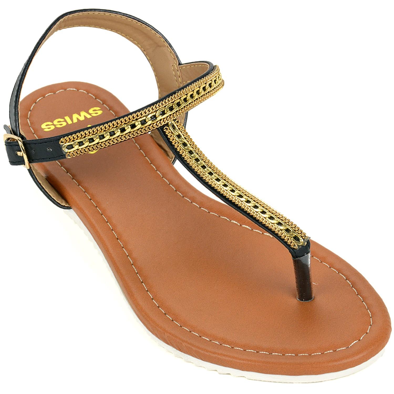 Alpine Swiss Womens Dressy Sandals Slingback Thongs Gold T ...