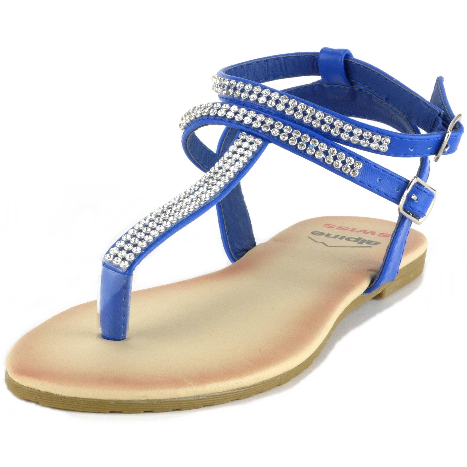 Alpine Swiss Women's Gladiator Sandals T-Strap Slingback Roman Rhinestone Flats