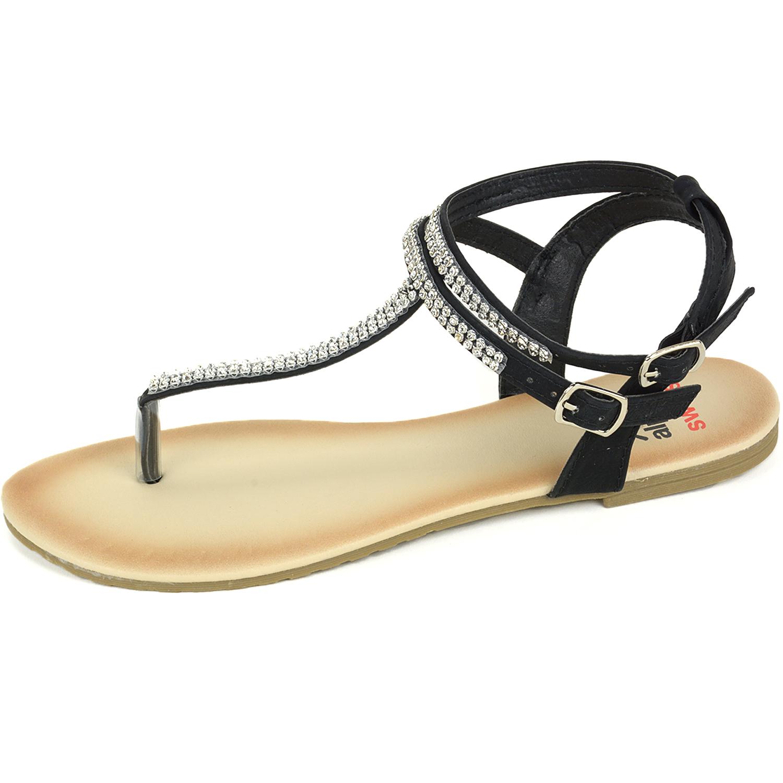Black sandals rhinestones - Alpine Swiss Women 039 S Gladiator Sandals T