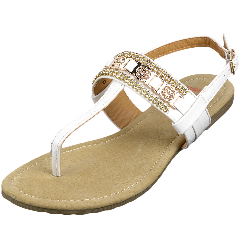 Alpine Swiss Women's Sandals T-Strap Rhinestone Suede ...