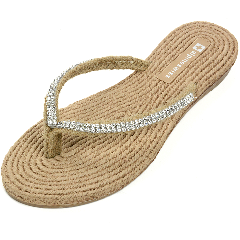 AlpineSwiss Womens Rhinestone Sandals Padded Sole Thongs ...
