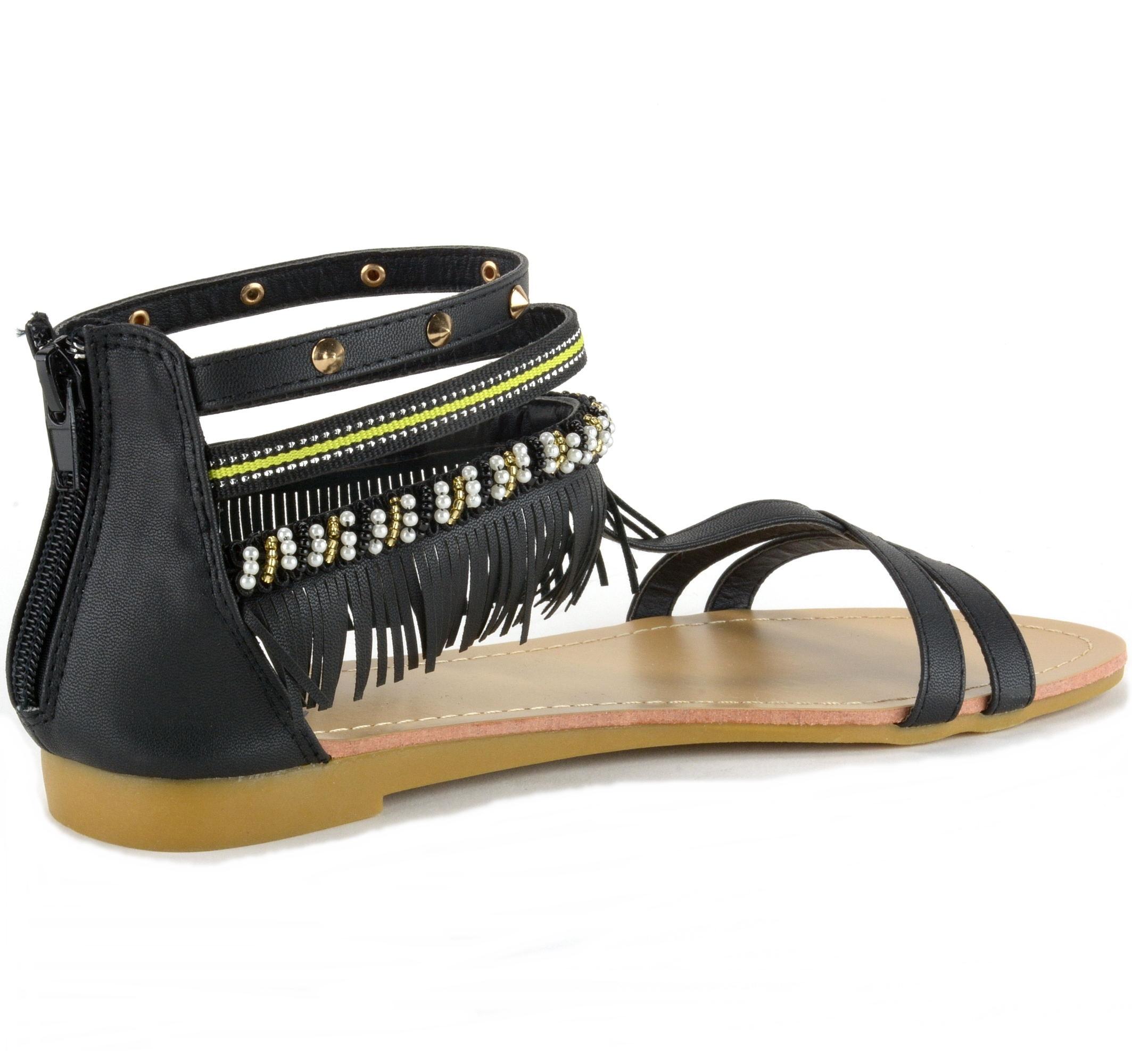 alpine swiss womens fringe sandals beaded studded