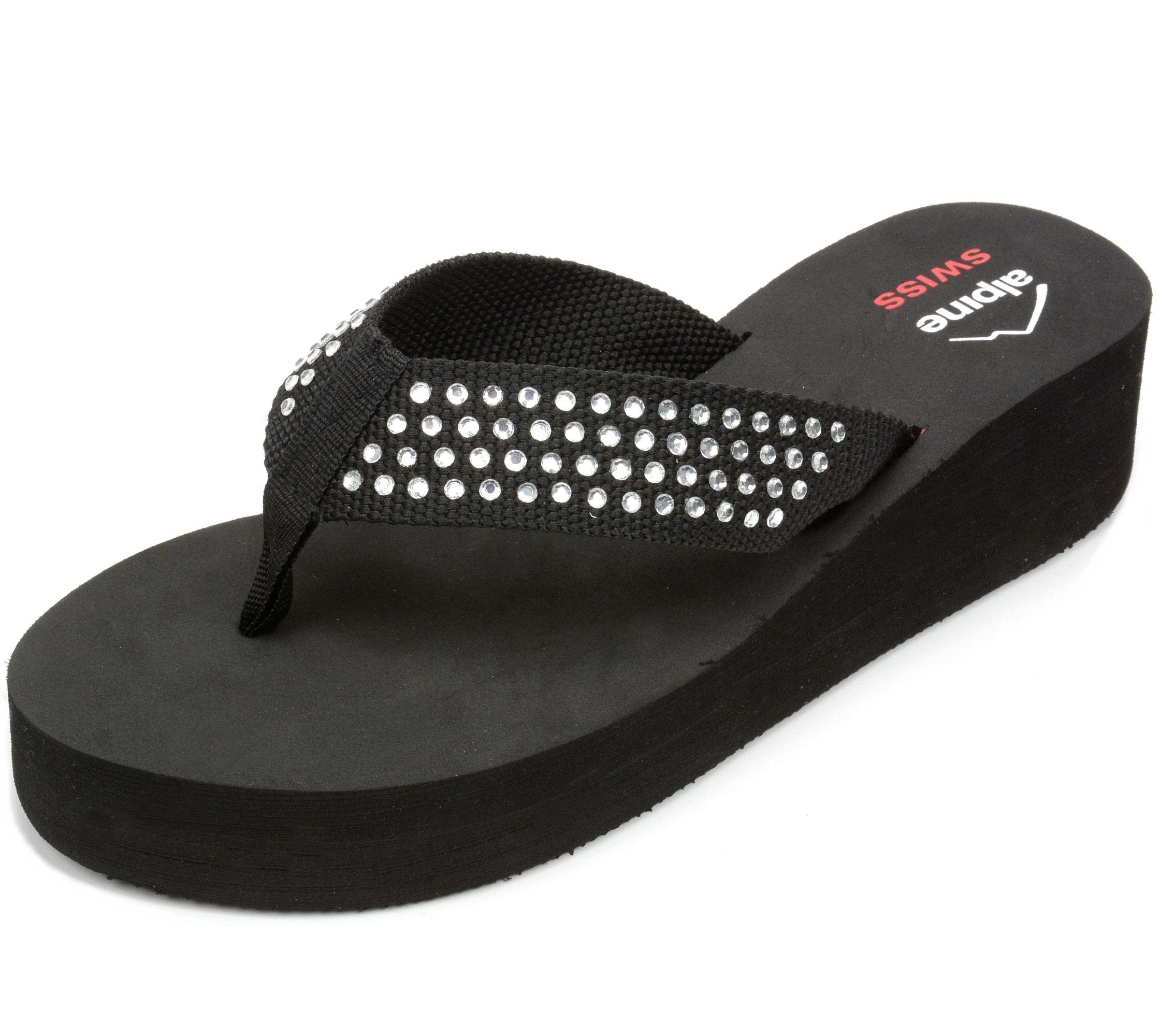 alpine swiss womens flip flops thong sandals rhinestone. Black Bedroom Furniture Sets. Home Design Ideas