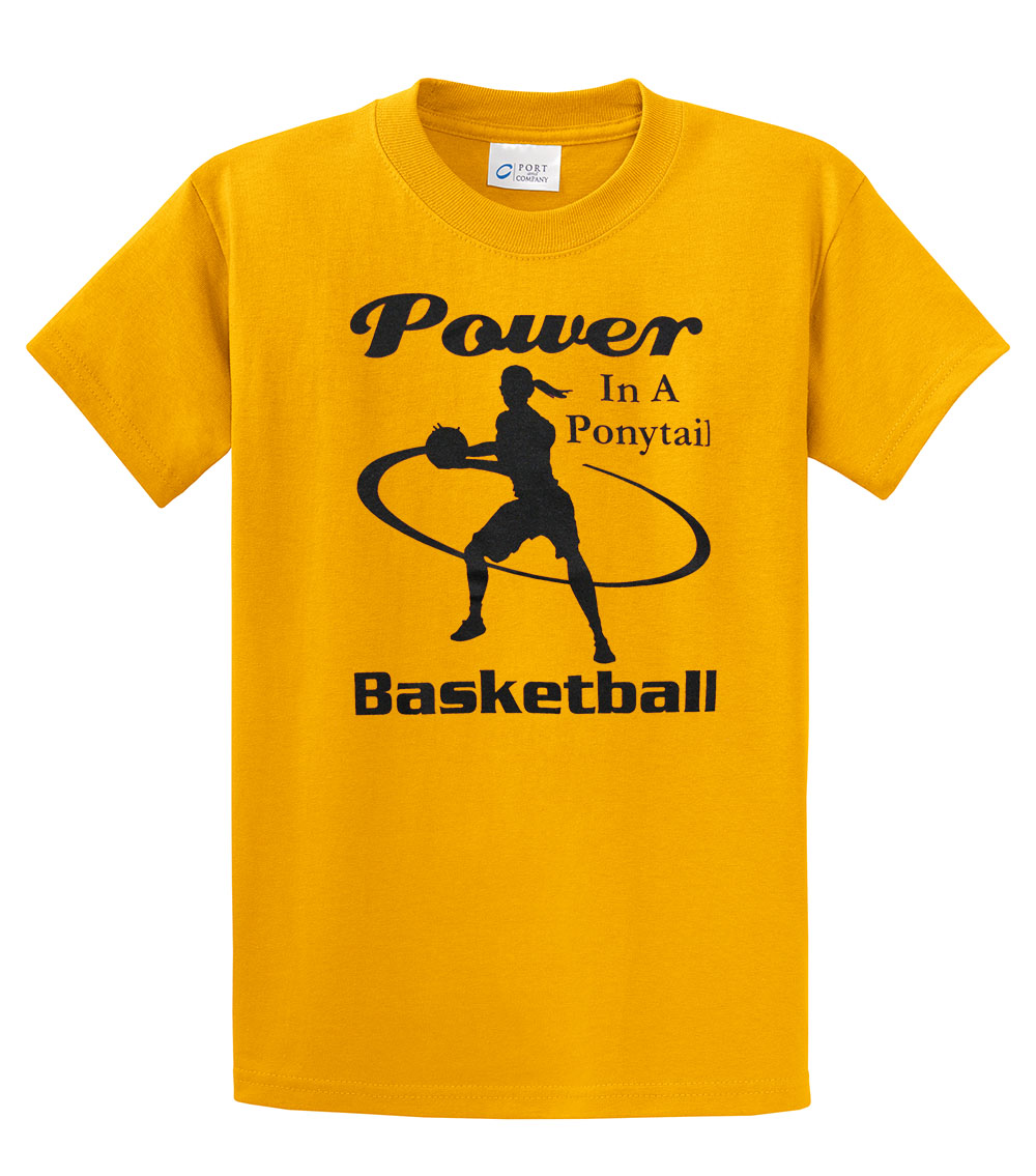 Basketball T Shirt Power In A Ponytail Black Imprint Youth