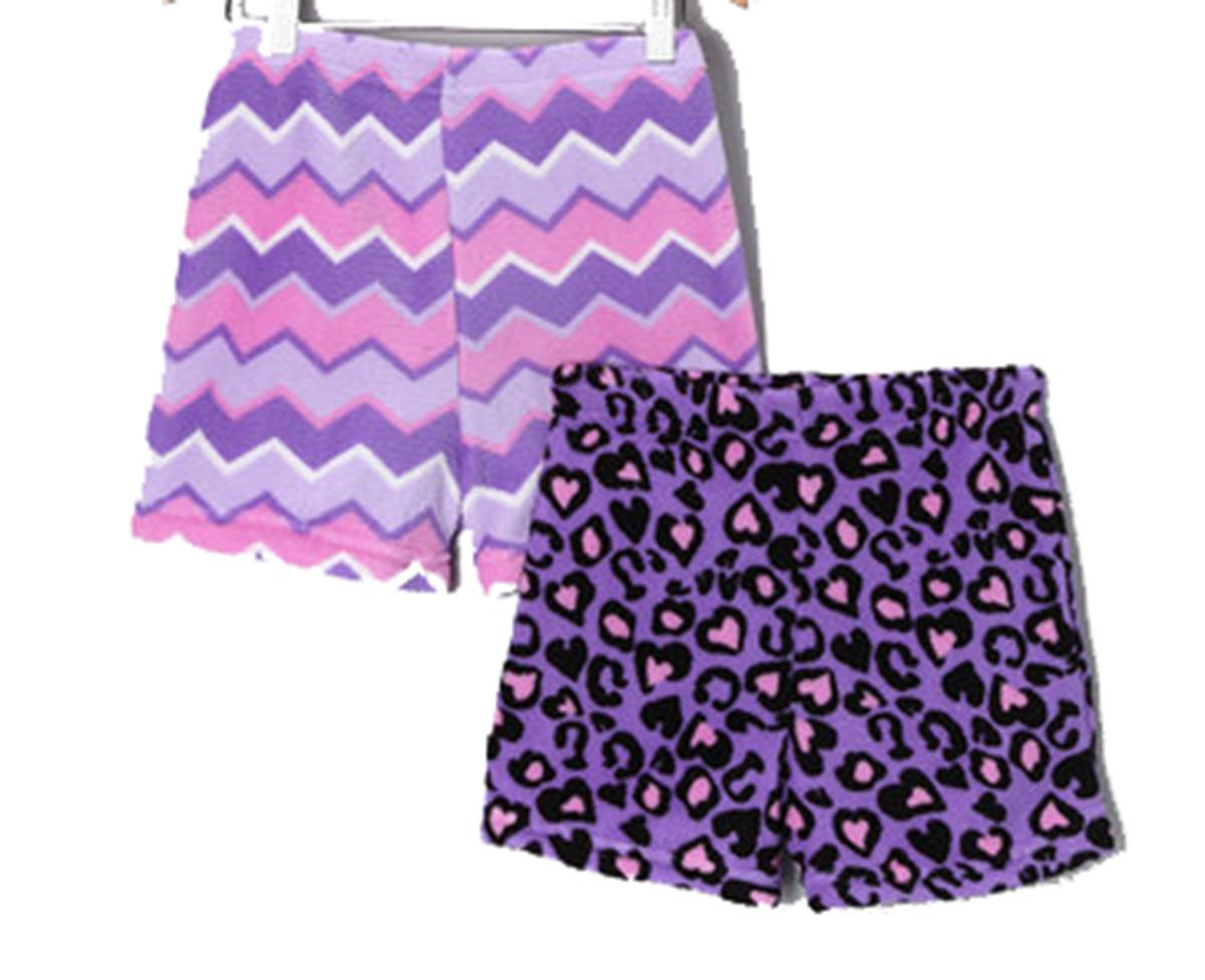 Trenz Shirt Company Fancy Girlz Leopard Hears/Purple ZigZag Two Pack Plush Pajama Shorts for Juniors at Sears.com