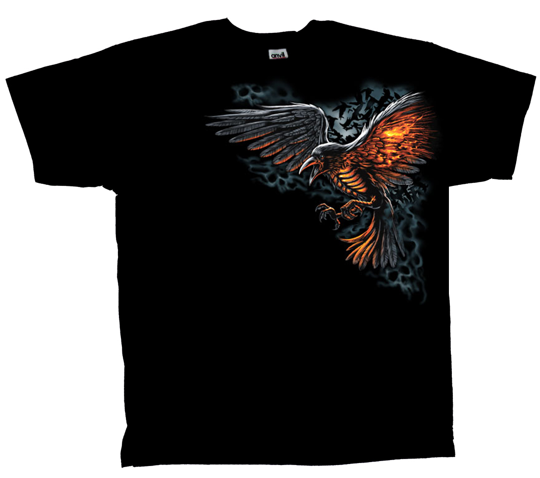 Flamed-Raven-T-shirt-Flaming-Bird-Fantasy