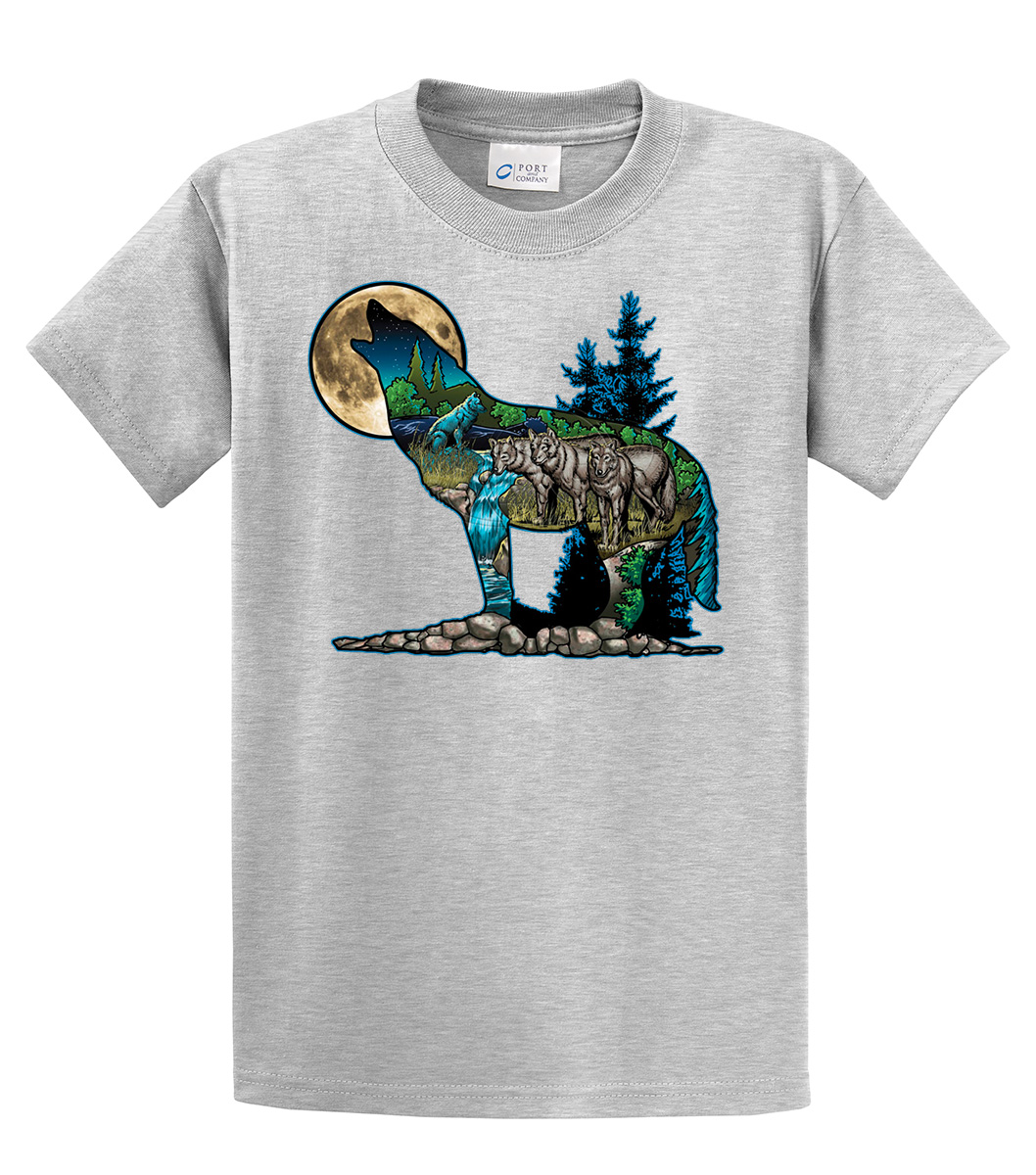 howling at the moon nature wolf wildlife t shirt ebay. Black Bedroom Furniture Sets. Home Design Ideas