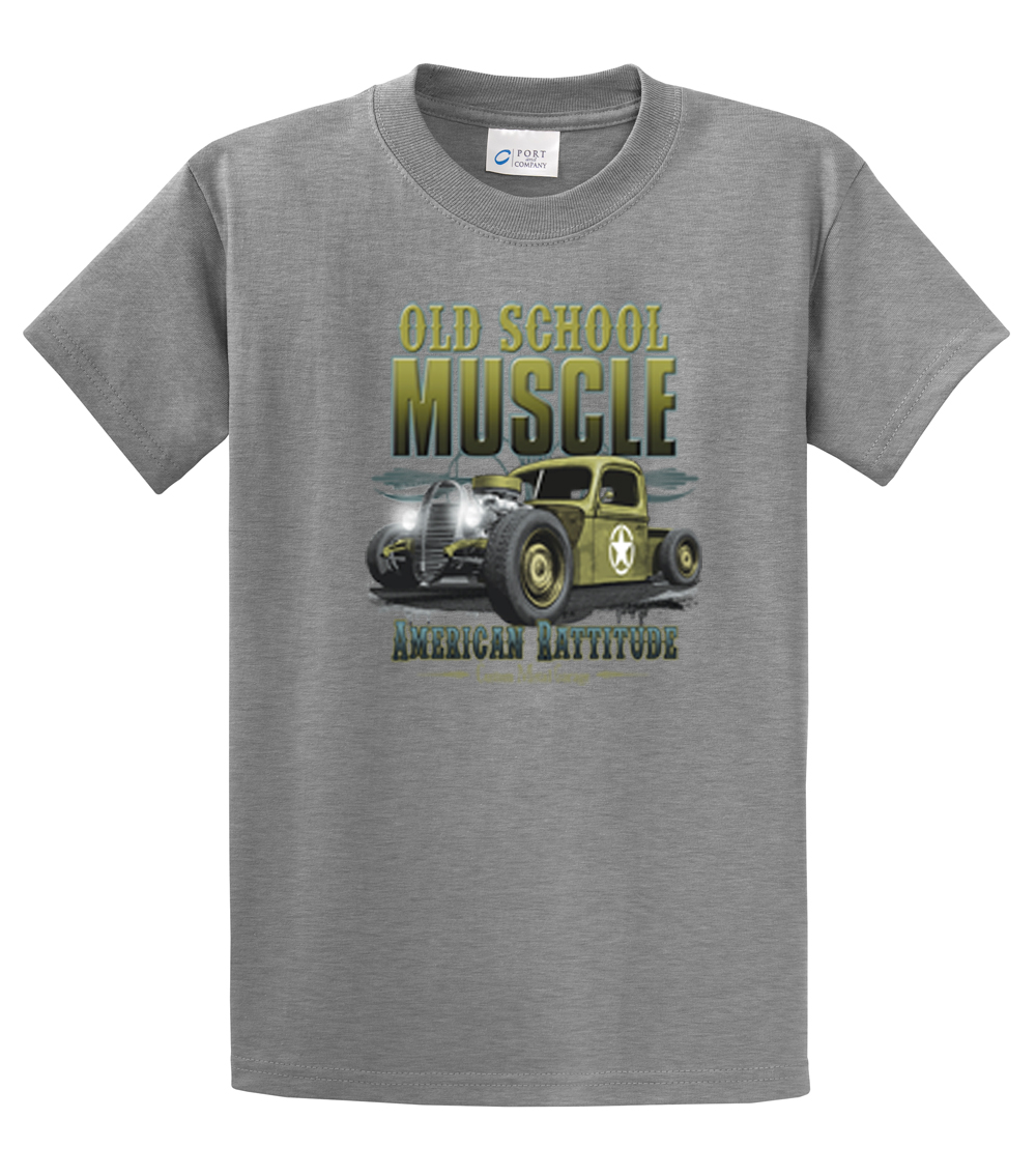 Hot rod t shirt old school muscle rat rod ebay for Old school basketball t shirts