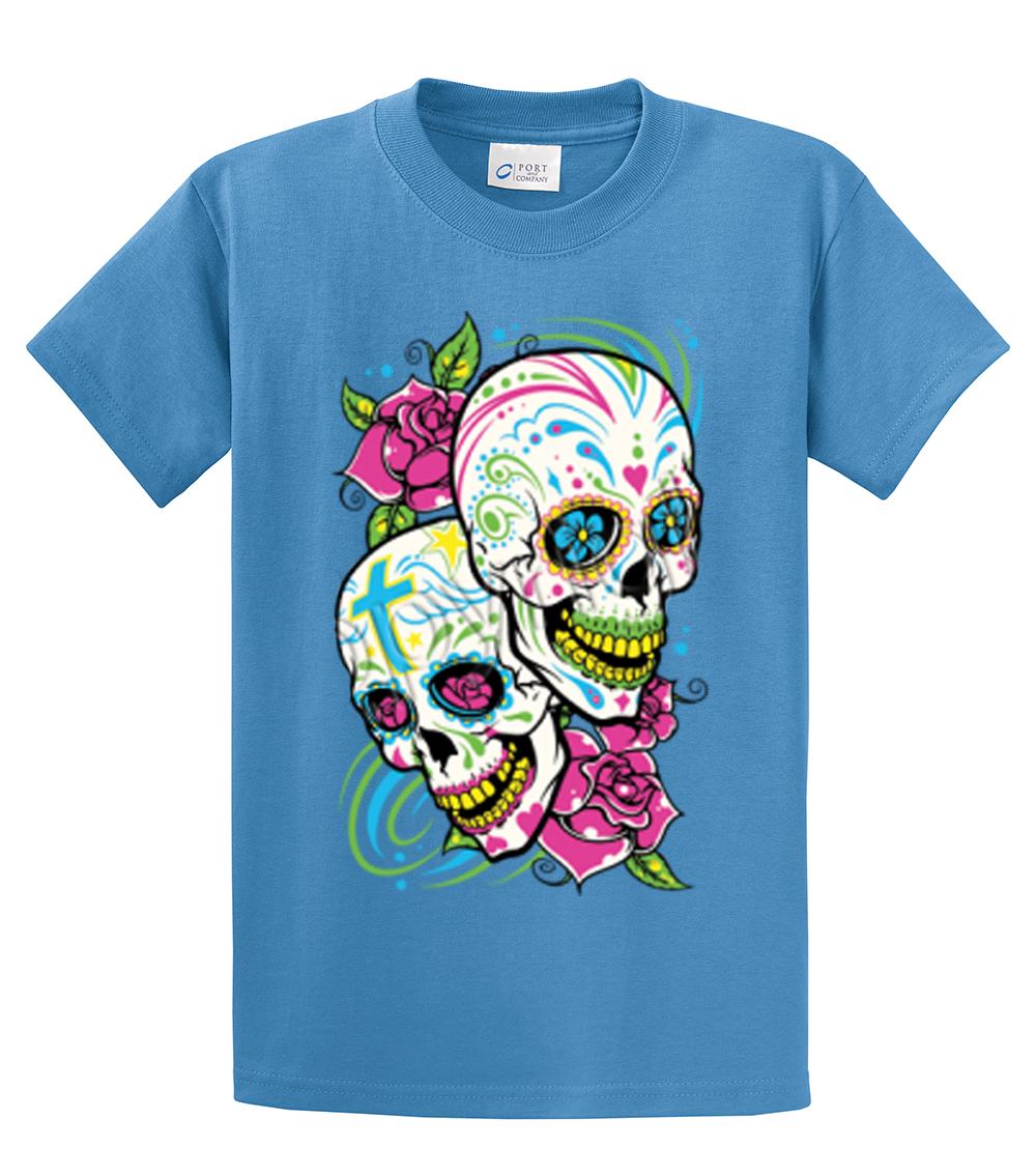 Skull T Shirt Sugar Skull With Floral Design Ebay