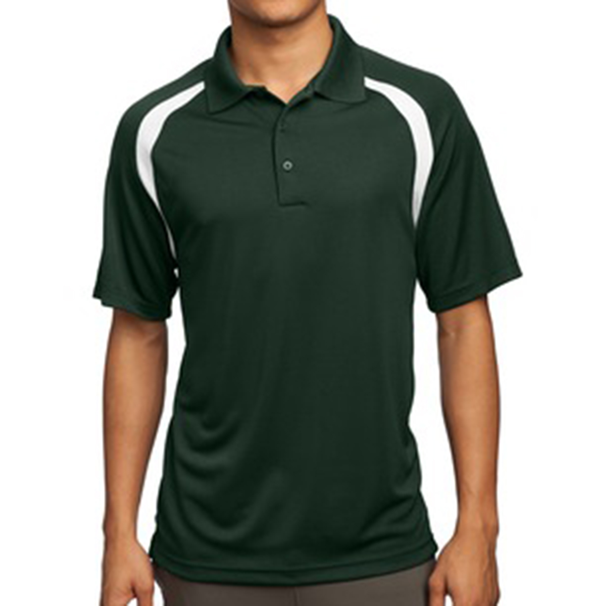 Sport tek men 39 s performance forest green and white for Forest green polo shirts