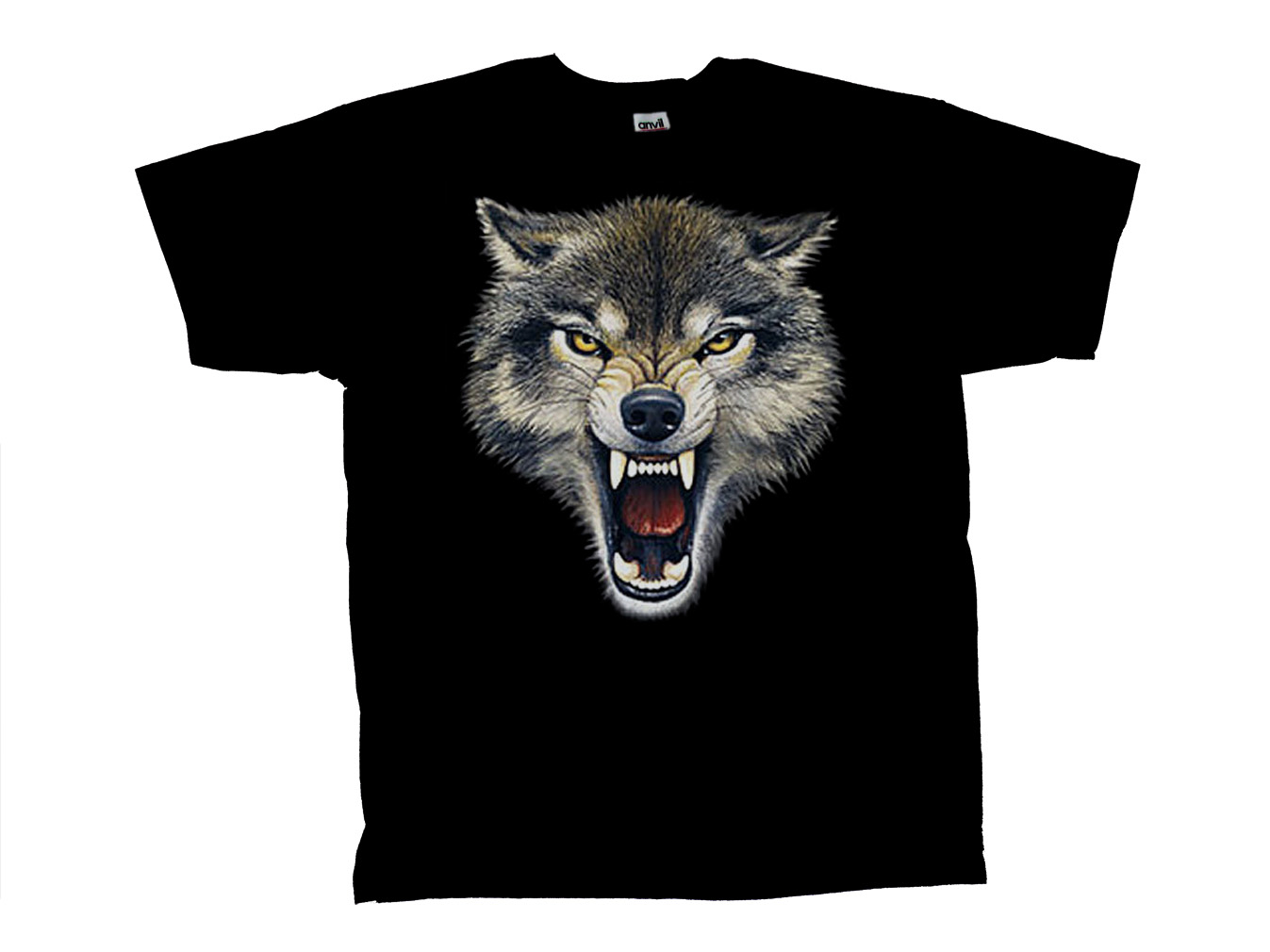 wolf t shirt growling fangs head shot design ebay. Black Bedroom Furniture Sets. Home Design Ideas