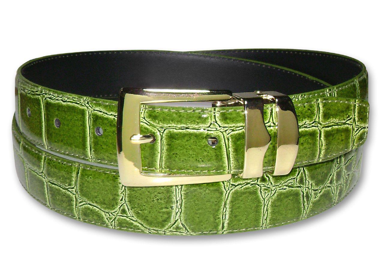 Rad Croc CELERY LIME GREEN Bonded Leather Men's Belt Gold...